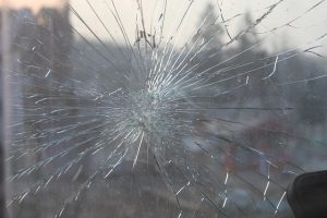 cracked and shattered windshield